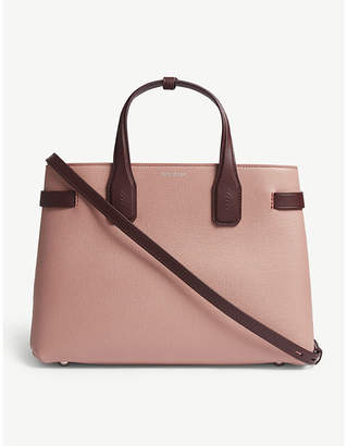 Burberry Dusty Rose Pink and Claret Red Check Banner Grained Leather Tote Bag