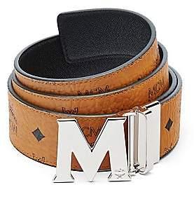 MCM Men's M Reversible Belt in Black Logo Visetos