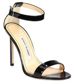 Manolo Blahnik Chaos Patent Leather Ankle-Strap Sandals $725 thestylecure.com