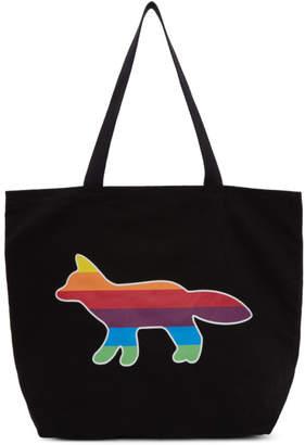MAISON KITSUNÉ SSENSE Exclusive Black Rainbow Fox Tote