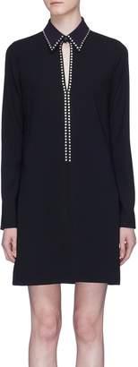 Victoria Beckham VICTORIA, Stud keyhole contrast collar shirt dress
