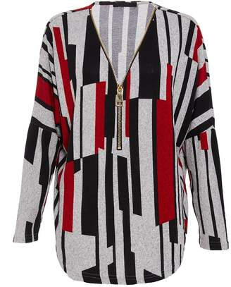 Quiz Red Grey And Black Zip Stripe Top