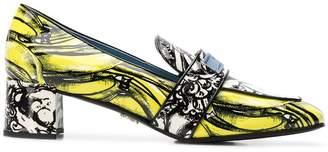 Prada printed mid-heel loafers