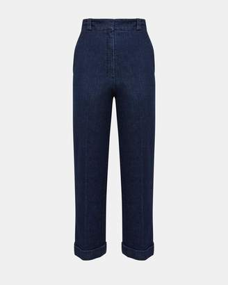 Theory Structured Denim Straight Cuff Pant