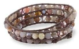 Chan Luu Botswana Agate, Grey Onyx, Swarovski Crystal, Leather & Sterling Silver Bracelet