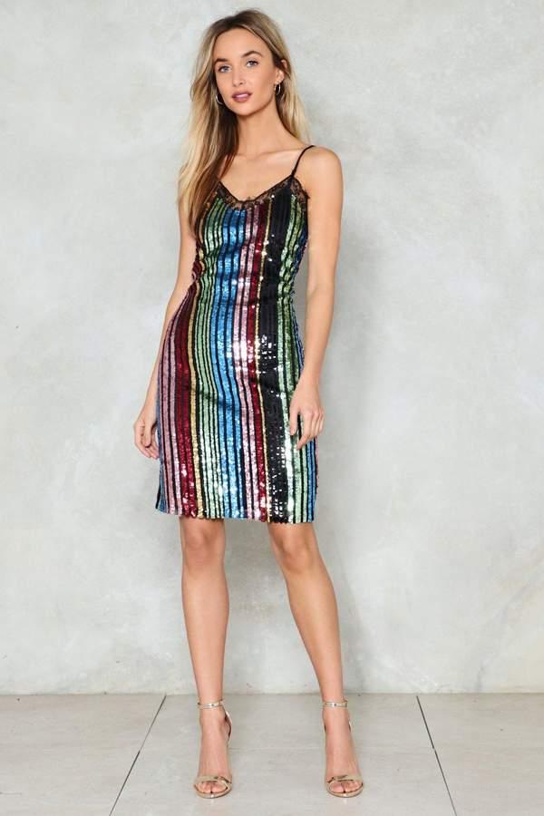 nastygal She's a Rainbow Sequin Dress