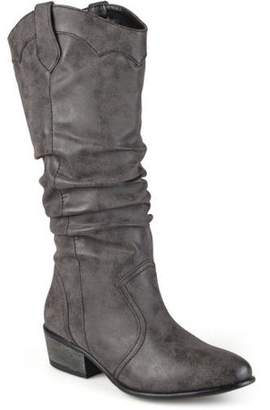Co Brinley Women's Wide Calf Faux Leather Slouch Riding Boots