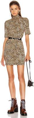 Enza Costa Half Sleeve Turtleneck Mini Dress in Ocelot | FWRD