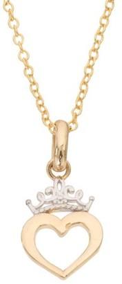 "Disney Princess 10kt Yellow Gold Heart Crown Pendant, 18"""