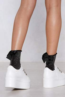 Nasty Gal Love Makes the World Bow Round Glitter Socks