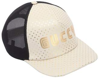 Gucci Logo Print Leather & Mesh Hat