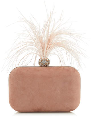de29887d5a2 Jimmy Choo CLOUD Ballet Pink Suede Clutch Bag with Crystals and Fascinator  Feathers