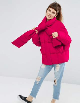 Asos Statement Puffer Jacket With Tie Neck
