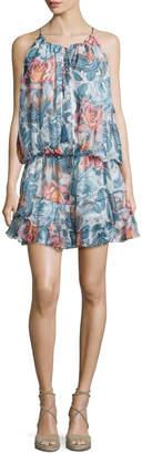 Elizabeth and James Kenji Sleeveless Floral-Print Dress, Multi/Black