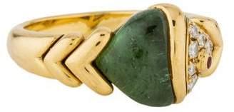 Bvlgari 18K Tourmaline, Diamond & Ruby Naturalia Fish Ring