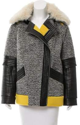 Rebecca Minkoff Tweed Leather-Accented Jacket
