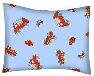 SheetWorld Crib / Toddler Percale Baby Pillow Case - Fire Engines - Made In USA