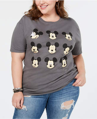 Hybrid Plus Size Cotton Mickey Mouse Expressions T-Shirt