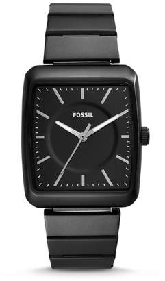 Fossil Heathcliff Three-Hand Black Stainless Steel Watch