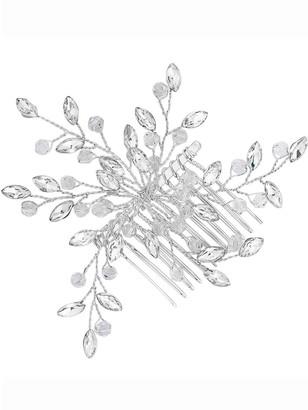 Jon Richard TheaCrystal Beaded Spray Comb - Silver