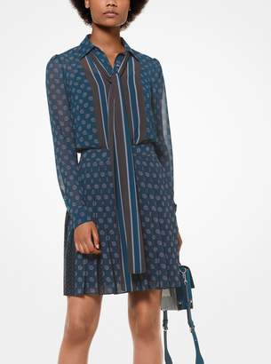 MICHAEL Michael Kors Foulard-Print Tie-Neck Blouse
