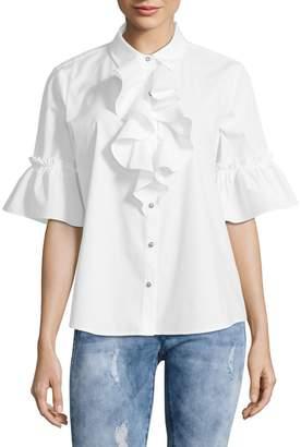 Karl Lagerfeld Paris Bell-Sleeve Ruffle Poplin Blouse