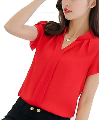 1918f31671cf32 ofndd66 Femininas Tops Short Sleeve Elegant Ladies Formal Office Blouse XL