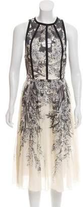 Lela Rose Sleeveless Floral Print Dress