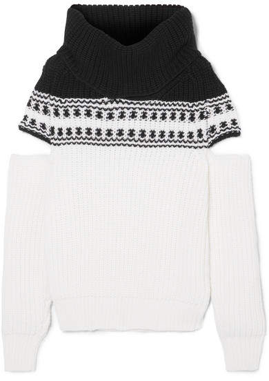 Monse - Cold-shoulder Fair Isle Wool Sweater - Black
