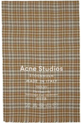 Acne Studios Beige and Brown Cassiar Check Scarf