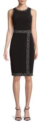 MICHAEL Michael Kors Leopard Trim Sheath Dress