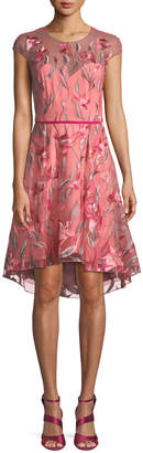 Marchesa Cap-Sleeve Floral-Embroidered Tulle Cocktail Dress w/ Velvet Belt