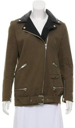 The Kooples Leather-Accented Notch-Lapel Jacket