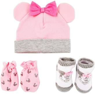 Disney Baby Girls Minnie Mouse Hat, Mitts and Booties Take Me Home Gift Set
