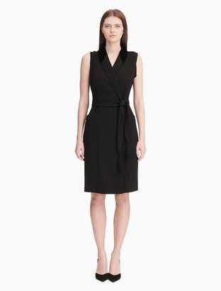 Calvin Klein velvet collar belted dress