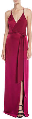 Halston Sleeveless Satin Wrap Gown