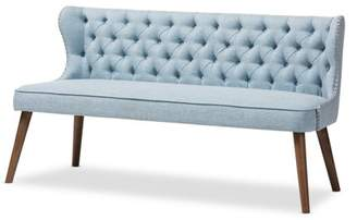 Baxton Studio Scarlett Mid-Century Modern Brown Wood and Light Blue Fabric Upholstered Button-Tufting with Nail Heads Trim 3-Seater Sofa