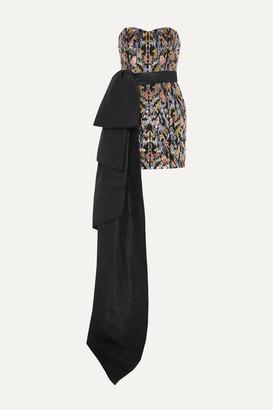 Semsem Strapless Satin-trimmed Sequined Tulle Mini Dress - Gunmetal