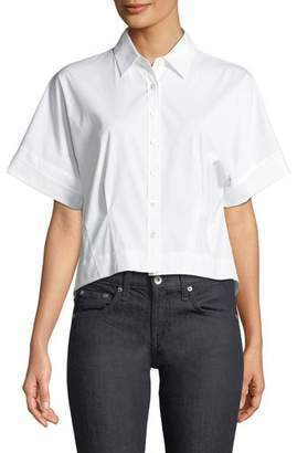Theory Cropped Button-Front Boxy Stretch-Cotton Shirt