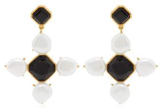 Oscar de la Renta Baroque Faux Pearl And Crystal Drop Earrings - Womens - Black