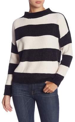 Woven Heart Chenille Striped Mock Neck Sweater