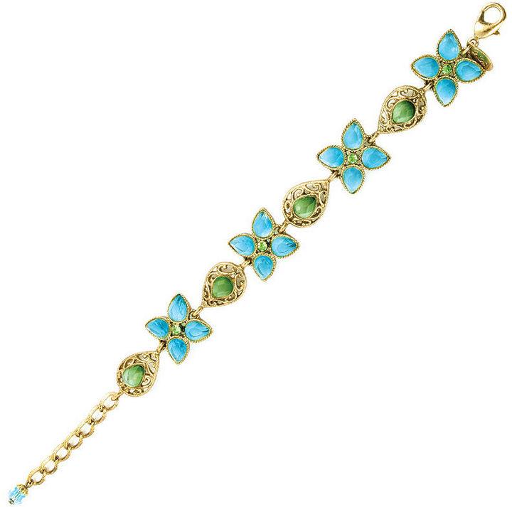 2028 Bracelet, Blue Zircon and Green Crystal
