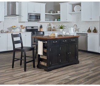 Inspired by Bassett Country Kitchen Island with Drop Leaf and 2 Stools in Black
