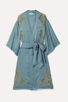 Carine Gilson Chantilly Lace-trimmed Silk-satin Kimono - Blue