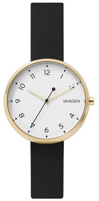 Women's Skagen Signatur Leather Strap Watch, 36Mm $135 thestylecure.com