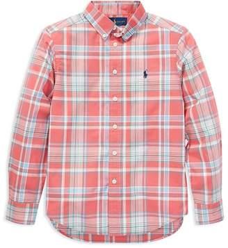 Ralph Lauren Boys' Plaid Cotton Poplin Shirt - Big Kid
