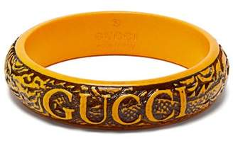 Gucci Logo And Snake Embossed Bracelet - Womens - Yellow