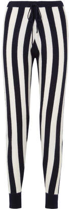 Madeleine Thompson Leonis Striped Cashmere Slim-leg Pants - Navy