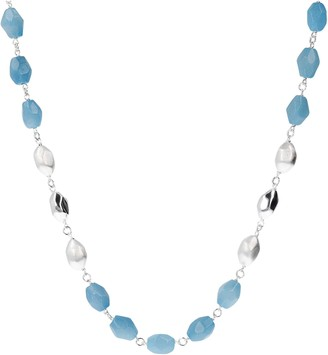"""Argento Arte D'argento Arte D' Sterling Silver Blue Quartzit e 32"""" Necklace"""
