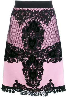 Fausto Puglisi lace embroidered midi skirt